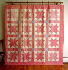 Vintage Quilt 1920 Pink Eight Pointed Star Pieced Patchwork Repair or re Purpose   eBay
