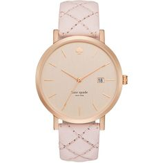 kate spade new york Women's Metro Pink Quilted Leather Strap Watch... (9,190 PHP) ❤ liked on Polyvore featuring jewelry, watches, kate spade jewelry, pink jewelry, charm jewelry, pink watches and pink wrist watch