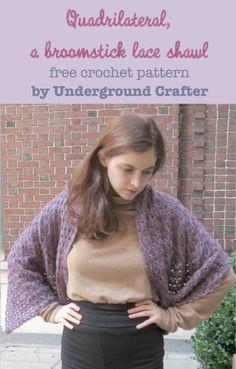 Ravelry: Quadrilateral, a broomstick lace shawl pattern by Marie Segares Crochet Prayer Shawls, Crochet Shawls And Wraps, Crochet Scarves, Crochet Clothes, Lace Shawls, Crochet Edgings, Freeform Crochet, Crochet Dresses, Crochet Motif