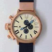 7cee7855e0b UBOAT Italy marine left hand 1001 big dial chronograph multi-function black  case pink gold watch