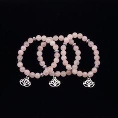 Rose Quartz and Lotus Flower Bracelet by angelovajewelry on Etsy