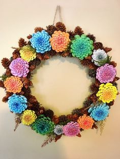 Pine Cone Wreath Zinnias pine cones wreath pine cone flower
