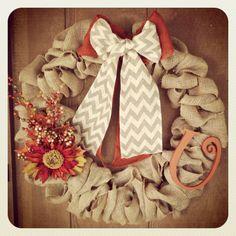 Burlap fall wreath I made.