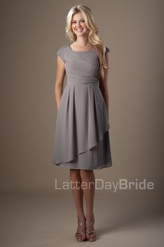 Love this style for bridesmaids! Affordable too! Modest Bridesmaid Dresses : MDS 2145