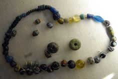 Medieval glass beads in the Novgorod Archaeological Museum, Russia.