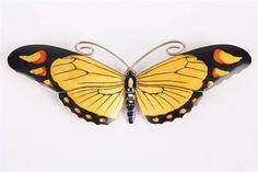 A Danish enamelled silver butterfly brooch by Marius Hammer, the wings guilloche enamelled in yel