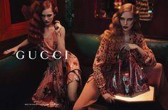 Divulgada a primeira imagem da campanha pre fall da italiana Gucci. Fotografada por Mert Alas e Marcus Piggott, as modelos Karmen Pedaru e Nadja Bender apa