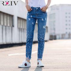 RZIV 2017 рваные джинсы для женщин джинсы вскользь сплошной цвет бойфренд джинсы ногтей бисера декоративные отверстия сломан изношенные джинсы