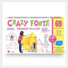 """Everest Toys Crazy Forts, Pink by Everest Toys. $40.78. Comes in pink. Durable, Portable. Easy to build. Just add bedsheets. From the Manufacturer                Princess Crazy Forts are a unique, award winning, building and creative toy. Princess Crazy Forts come with 69 child-safe toggles and rods that join together to build any play space from your child's imagination. Create a """"Cave"""" one day, an """"Igloo"""", """"Pirate Ship"""" or """"Castle"""" the next . put the pieces to..."""