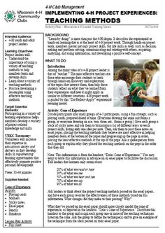 Designing 4-H Project Experiences - Teaching Methods - Wisconsin 4-H Community Clubs - University of Wisconsin