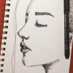 Profile Face Sketch by Erika Lancaster #sketching #sketchbook #portrait #drawing