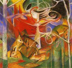 "Franz Marc, ""Gamos en el bosque"", Von der Heydt-Museum, Wuppertal. Foto tomada de http://echos-de-mon-grenier.blogspot.fr"