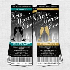 NEW YEAR'S EVE Party Ticket Invitations  print your by nowanorris