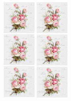 Pink roses Decoupage Vintage, Vintage Paper, Vintage Art, Decoupage Printables, Free Printables, 3d Prints, Vintage Labels, Vintage Flowers, Vintage Images