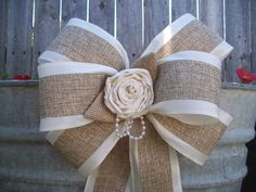 Burlap and Satin Bows Handmade Muslin Rose Pearls by OneFunDay, $14.90