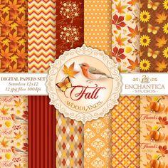 Fall Digital Paper Digital Paper Fall Autumn by EnchanticaStudios