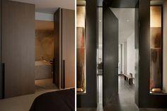 Puertas minimalistas ocultas en la pared