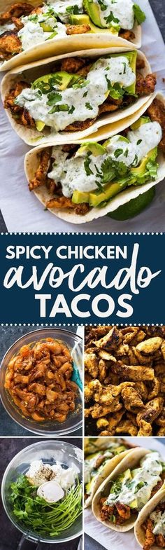 Chicken and Avocado Tacos with Creamy Cilantro Sauce - comida mexicana Vegetable Recipes, Chicken Recipes, Chicken Dips, Veggie Food, Vegetable Appetizers, Mexican Chicken, Easy Chicken Tacos, Chicken Tostadas, Healthy Chicken