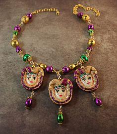 Mardi Gras Jewelry  Mardi Gras Necklace by AngelaVenableArt, $25.00