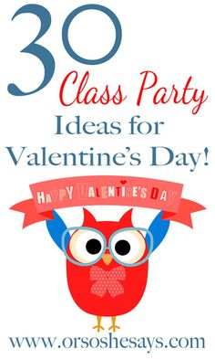 30 Valentine's Day School Party Ideas (she: Mariah) - Or so she says. Are you helping with the Valentine's Day party at school? This is a great round-up of 30 Valentine's Day school party ideas to help you out! Kinder Valentines, Valentines Games, My Funny Valentine, Valentines Day Activities, Valentine Day Love, Valentines Day Treats, Valentine Day Crafts, Valentine Party, Valentine Ideas