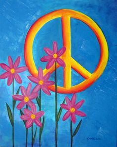 Peace Sign Painting on 16 x 20 Canvas, Artist-Signed Original Acrylic Painting, Girls Bedroom Decor, Teen Girls Wall Art. I painted this Paz Hippie, Hippie Peace, Happy Hippie, Hippie Love, Hippie Art, Peace Love Happiness, Peace And Love, Arte Hippy, Peace Sign Art