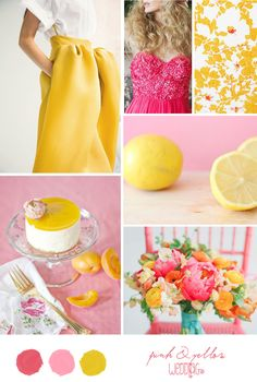 Pink and Yellow Inspiration Board via Belle & Chic