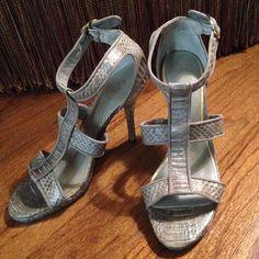 Lauren Ralph Lauren Faux Snakeskin/Python Sandals Gray leather textile upper; balance man made Lauren Ralph Lauren Shoes Heels