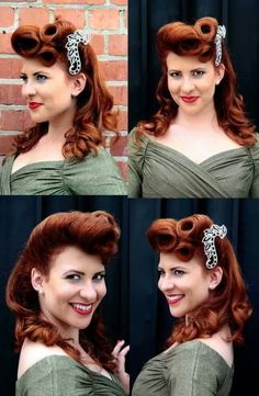 Trendy Ideas for Hairstyles Vintage Pin Up Rocks – # Ideas - Rockabilly Style Hair Pelo Retro, Estilo Retro, Retro Hairstyles, Curled Hairstyles, Hairstyles Men, 1940s Hairstyles For Long Hair, Wedding Hairstyles, Chignons Rock, Pelo Vintage
