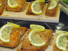 Cedar planked grill salmon - a delicious entree on the Cuisine of the Pacific Northwest menu that is part of the new International Menus in the La Rabida Cafe.