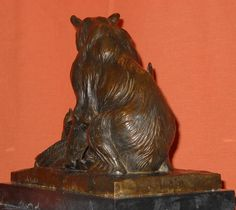 Signed Wildlife Solid Bronze Statue Sculpture Grizzly Black Bear Eagle