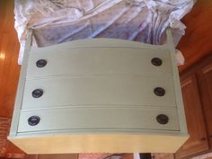 After (3 drawer mahogany dresser) Annie Sloan Chalk Paint Versailles.  SOLD