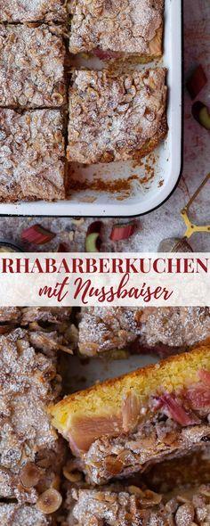 Rhabarberkuchen mit Nussbaiser: Ein köstlicher Rhabarberkuchen, gekrönt von einer süßen Haube aus knusprigem Nussbaiser. So lecker! Food Heaven, Banana Bread, Om, German, Food And Drink, Cake, Desserts, Merengue, Postres