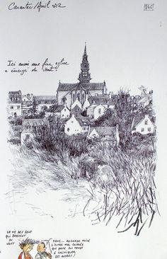 suitte 0488 / Yann Lesacher Plus Sketchbook Drawings, Drawing Sketches, Art Drawings, Landscape Drawings, Landscape Art, Mountain Sketch, Art Environnemental, Art Du Croquis, Art Texture