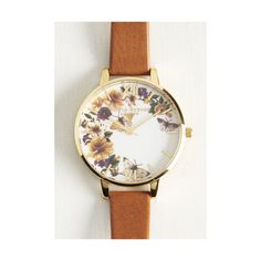 Olivia Burton Boho Garden Me Watch ($125) ❤ liked on Polyvore featuring jewelry, watches, accessories, tan, gold watches, yellow gold watches, gold wrist watch, boho chic jewelry and gold jewellery