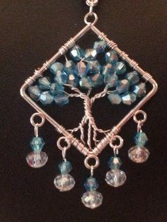 Aquamarine Swarovski Elements Tree Of Life Necklace