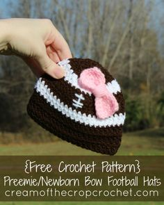 Make this hat for football season! Preemies/Newborns need to be prepped for the game as well. This Preemie/Newborn Bow Football Hat is a good start! Did you know that some NICUs celebrate football season?
