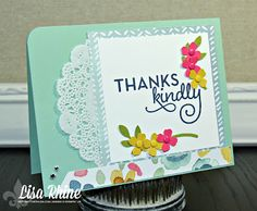 Get Crafty with Lisa:  Thanks Kindly.  This thank you card features Stampin' Up!'s One Big Meaning Stamp Set and English Garden Designer Series Paper, by Lisa Rhine, www.getcraftywithlisa.com