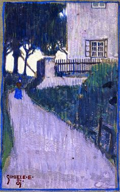 Egon Schiele (1890 – 1918)        Landscape, 1907         Landscape with House, Trees and Female Figure (1907)           Sailing Boat with...