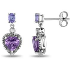 Ice Diamond, Amethyst, Tanzanite Sterling Silver Earrings ($120) ❤ liked on Polyvore featuring jewelry, earrings, women's accessories, sterling silver diamond earrings, sterling silver jewellery, diamond jewelry, diamond earrings and amethyst jewellery