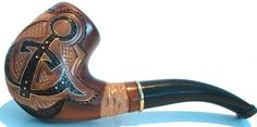 """Hand Carved Wooden Tobacco Smoking Pipe """"ANCHOR"""""""