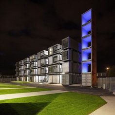 college dorm made from shipping containers