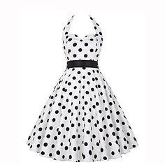 Trapèze+Robe+Femme+Sortie+Vintage,Points+Polka+Licou+Mi-long+Sans+Manches+Blanc+Noir+Polyester+Eté+Taille+Normale+Micro-élastique+–+EUR+€+14.44