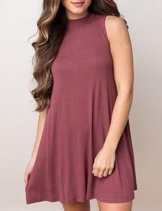 Brick Red Round Neck Sleeveless Tshirt Dress 16.14