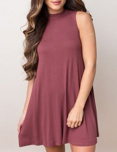 Brick Red Round Neck Sleeveless Tshirt Dress 16.14