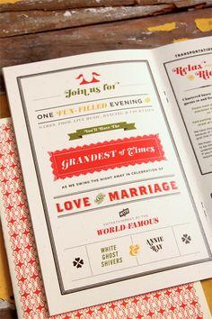 Lauren + Joe's Red and White Carnival Wedding Invitations