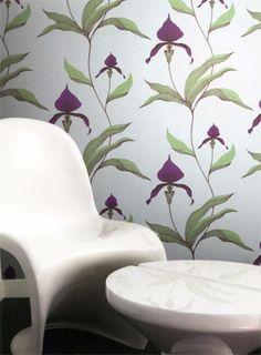 Große Orchideen: Tapete Orchid - Designtapete von Cole and Son  #britisch #floral #wohnzimmer #esszimmer