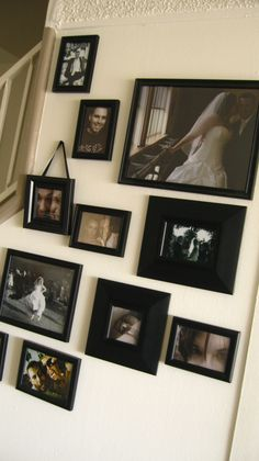 Picture wall in an awkward space! #pictures #awkwardspace #decorating