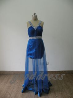 Sexy V Neck Blue Pearl Beaded Tulle Ruched Backless by gooddress, $111.00