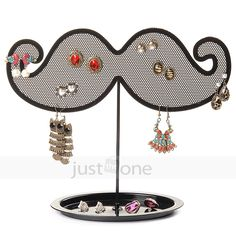 Retro Metal Novel Moustache-shaped Earrings Holder Jewelry Display Stand BLK New $11