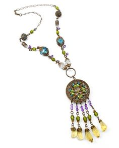 """Stained Glass Window by Jess Italia Lincoln -    Our featured necklace for the Vintaj Sept 2013 """"Stained Glass Window"""" theme. Glass beads, crystal & gemstones available from our Online Bead Partner, Lima Beads"""